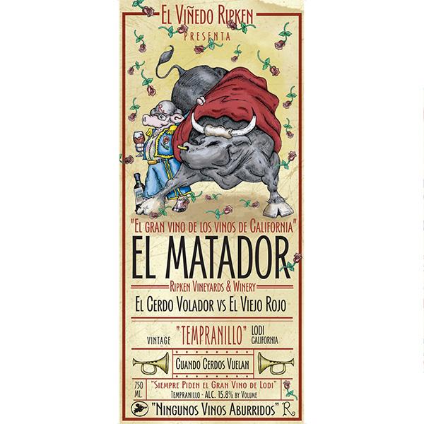 Ripken Wine label for El Matador Tempranillo wine