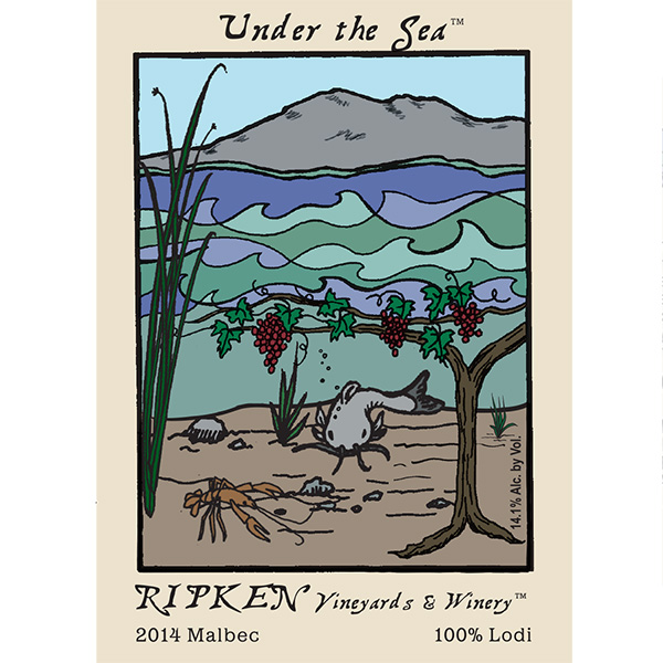 Ripken Wine label for Under The Sea 2014 Malbec